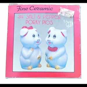 Hand painted Ceramic Salt and Pepper Porky Pigs